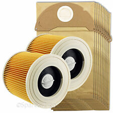 2 Filters + 10 Dust Bags fits Karcher Wet & Dry WD2 Vacuum Cleaner