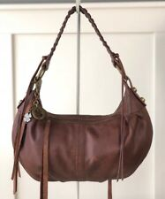 LUCKY BRAND Small Knots Landing Brown Soft Leather Whipstitch Shoulder Bag Hobo