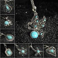 Charm Bib Retro Tibetan Silver Jewelry Crystal Turquoise Pendant Chain Necklace