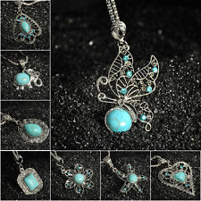Charm Bib Retro Tibetan Silver Jewelry Crystal Turquoise Pendant Chain Necklace
