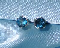 PETITE 4MM ROUND LONDON BLUE TOPAZ .925 STERLING SILVER STUDS