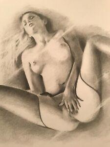 Erotic Nude Female ORIGINAL DRAWING Aktzeichnung NO RESERVE