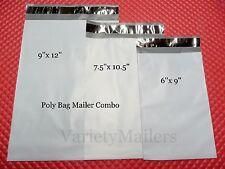 120 POLY BAG POSTAL MAILING ENVELOPE COMBO 9x12  7.5x10.5  6x9  SELF-SEALING