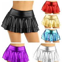Women's Metallic Pleated Mini Skirt Layered Ruffled Schoolgirl Short Dress Dance