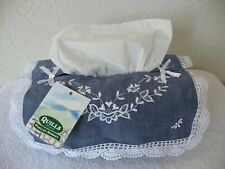 Quills of Ireland Fabric Facial Kleenex Tissue Paper Box Cover Holder Navy Lace