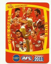 2011 AFL TEAMCOACH GOLD COAST SUNS TEAM CHECKLIST CARD
