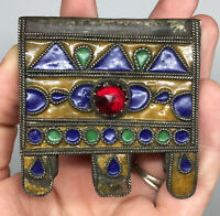 Enamel and Glass cabochons Morocco old Silver Amulet \u201cHirz\u201d Pendant