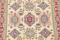 IVORY 5'x7' Geometric Super Kazak Oriental Area Rug Hand-Knotted Carpet WOOL