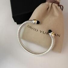 David Yurman Classic Cable Bracelet 5mm Sterling Silver & Black Onyx Cuff Bangle