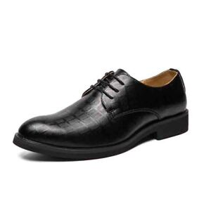 Mens Pointed Toe Faux Leather Business Formal Dress Shoes Wedding Party Solid