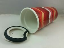 2014 Starbucks Ceramic Travel Mug & Lid, Red White Geometri Design, 10 FL Oz