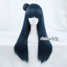 70cm Anime For LoveLive! Sunshine!! Tsushima Yoshiko Dark Blue Cosplay Wig+Bun