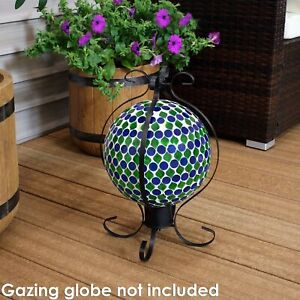 Sunnydaze Gazing Globe Stand Metal with Black Finish and Enclosed Design - 16""