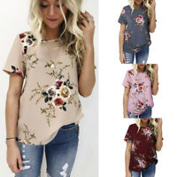 Summer Women's Floral Tops Blouse Ladies Short Sleeve Casual T-Shirt Plus Size