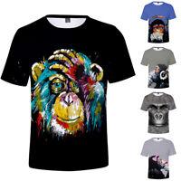 Orangutan Crown Short Sleeve Casual T-shirt 3D Print Tee Tops Crew Neck Animal