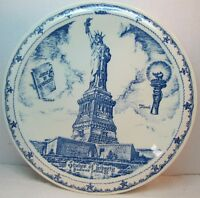 STATUE OF LIBERTY JAMES HILL BEDLOE'S ISLAND NY Old Souvenir Advertising Plate