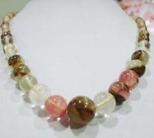 "6-14mm Watermelon Tourmaline Gems Beads Necklace 18"""