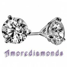 1.5 ct F SI2 round diamond solitaire 3prong martini stud earrings 18k white gold