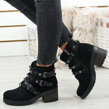 WOMENS LADIES SIDE ZIP ANKLE BOOTS LACE UP STUDS BUCKLE BIKER BOOTIES SHOES SIZE