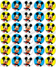 30 x Mickey Mouse Faces Party Edible Rice Wafer Paper Cupcake Toppers