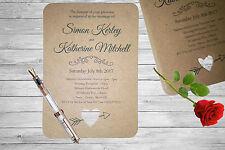 Personalised Handmade Wedding Invitation Invite x50 Vintage Kraft Brown Rustic 9