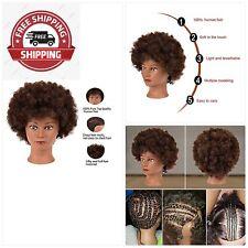 9'' Afro Mannequin Head With 100% Human Hair Training Head Hairdresser Manikin C
