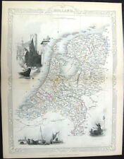 1851 TALLIS Engraving MAP ~ HOLLAND NETHERLANDS Rotterdam Dort River Canal Boats