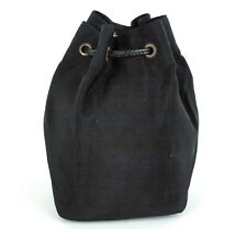 Auth Gucci GG Black Canvas Pouch Handbag Cosmetic Makeup Accessories Pouch Italy