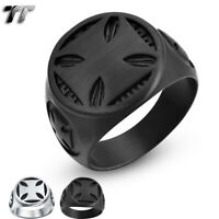High Quality TT 316L Stainless Steel Cross Ring Silver/Black (RZ188)2019 NEW