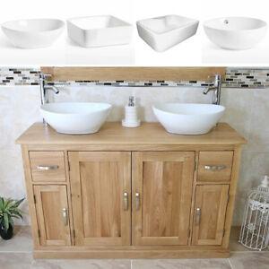 Bathroom Vanity Unit   Oak Sink Cabinet   Double Ceramic Wash Basin Tap & Plug