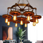Rustic Steampunk Ceiling Light 9 Gear Chain Chandelier Industrial Pendant Lamp