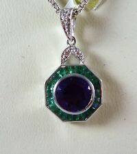 19CT K WHITE GOLD AMETHYST  EMERALD AND DIAMOND SET PENDANT18163