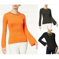 MICHAEL KORS NEW Women's Chain-embellished Crewneck Sweater Top TEDO