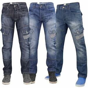 Crosshatch Mens Cargo Jeans Combat Regular Fit Denim Pants Trousers Sizes 30-40