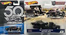HOT WHEELS '55 CHEVY BEL-AIR GASSER & '66 SUPER NOVA RETRO RIG( BLACK )