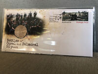 New Mint Uncirculated 2018 Battles of Coral & Balmoral 50c PNC Limited to 7000