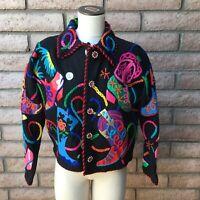 Michael Simon Cache Black Cardigan Sweater Western Cowboy Boots Bold Colors Bead