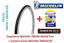 1 Copertone + Camera d'aria Michelin 700x35 World Tour x Bici 28 Retrò Old Style