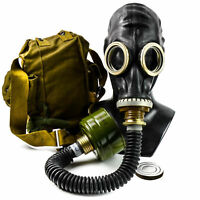 Soviet russian gas mask GP-5 Black rubber with black hose. New full set