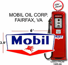 "(MOBI-6) 6"" MOBIL GAS PEGUSUS GASOLINE DECAL CAN / GAS PUMP / LUBSTER"
