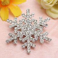XmGift Silver Snowflake Brooch Diamante Rhinestone Crystal Pearl Broach Pin UK
