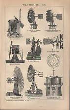 LITOGRAFICO 1896: vento MOTORI. Vento Motore spirale in dissolvenza turbina Torre-CAVALLETTO-Mulino