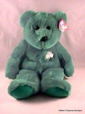 "Ty Erin Irish Shamrock Bear Beanie Buddy 1998 13"" Soft Plush Stuffed Animal"