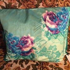 DESIGNERS GUILD FERGANA JADE BOLSTER COVER EMBROIDERED SATIN w/DUCK FEATHER PAD