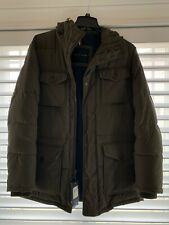 NEW Tommy Hilfiger Micro Twill Full Length Hooded Parka Coat Olive Size M $295
