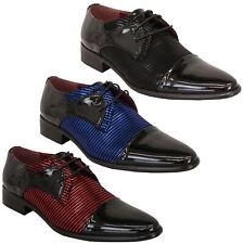 Para Hombre Formal Charol Look Con Cordones Zapatos italiano Puntiagudo Boda Moda