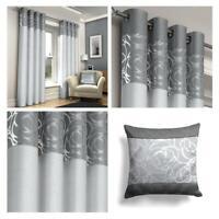 Silver Eyelet Curtains Grey Skye Metallic Ready Made Ring Top Curtain Pairs