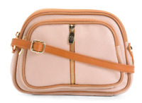 VALENTINA Beige Genuine Leather Multiple Entry Crossbody Made In Italy MSRP $179