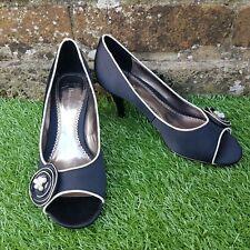 Ladies PHASE EIGHT Black High Heel Shoes Sz 4 Rosette White Flower Smart Wedding