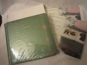 Creative Memories Scrapbook 7x7 Album Green Shimmer Pink Floral Refill Protector
